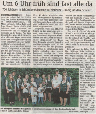 Schützenfest 2016 (Quelle: Stader Tageblatt 20.07.2016)