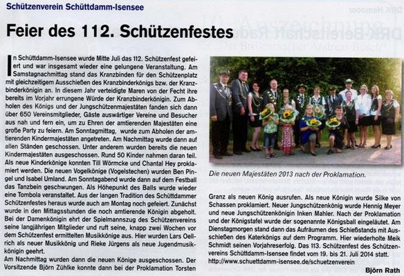 Schützenfest 2013 (Quelle: Hemmoor Magazin, 5. Jahrgang, Nr. 14, September 2013)