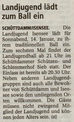 Vorbericht Landjugendball 2012 (Quelle: Stader Tageblatt 13.01.2012)