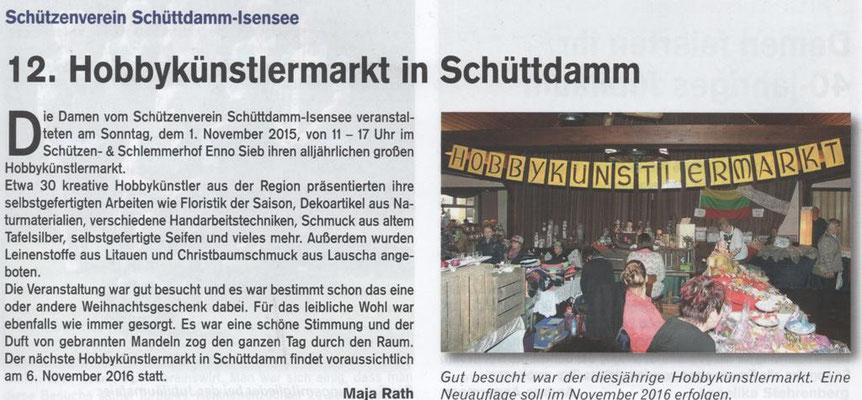 Hobbykünstlermarkt 2015 (Quelle: Hemmoor Magazin, 7. Jahrgang, Nr. 21, Dezember 2015)