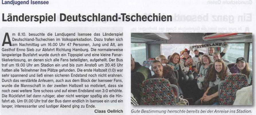 Länderspiel Deutschland gg. Tschechien (Quelle: Hemmoor Magazin, 8. Jahrgang, Nr. 24, Dezember 2016)