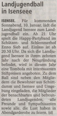 Vorbericht Landjugendball 2015 (Quelle: Stader Tageblatt 06.01.2015)