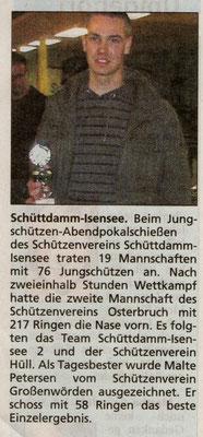 Jungschützen-Abendpokalschießen 2008 (Quelle: Stader Tageblatt 08.11.2008)