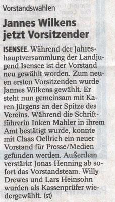 Jahreshauptversammlung 2016 (Quelle: Stader Tageblatt 09.04.2016)