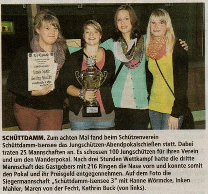 Jungschützen-Abendpokalschießen 2012 (Quelle: Stader Tageblatt 22.09.2012)