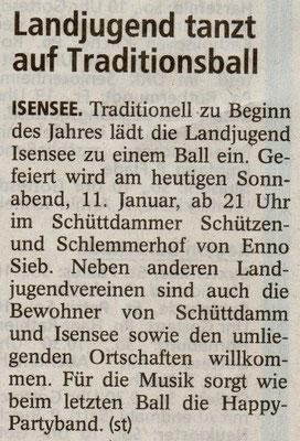 Vorbericht Landjugendball 2014 (Quelle: Stader Tageblatt 11.01.2014)