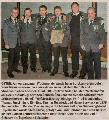 Herbstschießen 2012 (Quelle: Stader Tageblatt 27.10.2012)