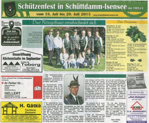 Vorbericht Schützenfest 2015 (Quelle: NEZ 16.07.2015)