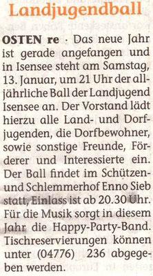 Vorbericht Landjugendball 2018 (Quelle: Elbe-Weser-Aktuell 10.01.2018)
