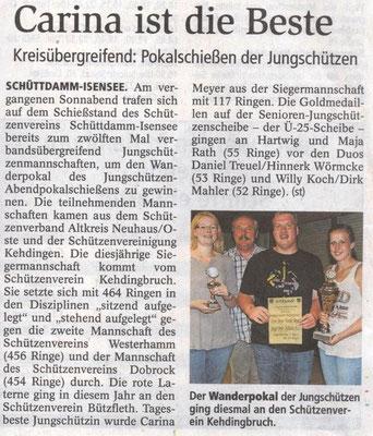 Jungschützen-Abendpokalschießen 2016 (Quelle: Stader Tageblatt 16.09.2016)