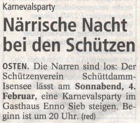 Vorbericht Närrische Nacht 2017 (Quelle: NEZ 03.02.2017)
