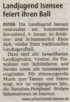 Vorbericht Landjugendball 2010 (Quelle: NEZ 07.01.2010)