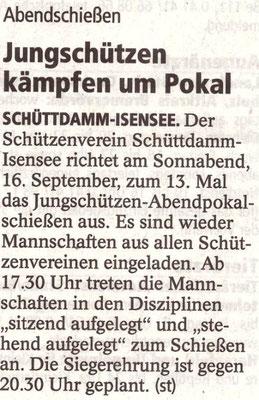 Vorbericht Jungschützen-Abendpokalschießen 2017 (Quelle: Stader Tageblatt 14.09.2017)