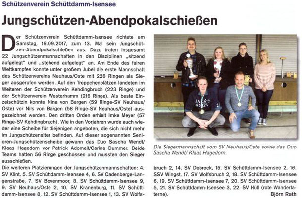 Jungschützen-Abendpokalschießen 2017 (Quelle: Hemmoor Magazin, 9. Jahrgang, Nr. 27, Dezember 2017)