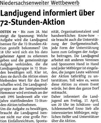 Ankündigung Infoveranstaltung 72-Stunden-Aktion (Quelle: Elbe-Weser Aktuell 15.04.2015)