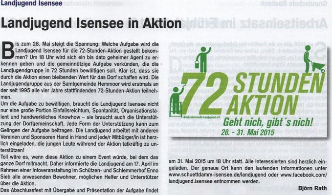 Vorbericht 72-Stunden-Aktion (Quelle: Hemmoor-Magazin, 7. Jahrgang, Heft 19, April 2015)