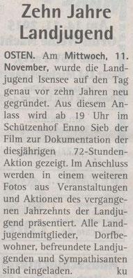 10 Jahre Landjugend Isensee (Quelle: Hadler Kurier 11.11.2015)