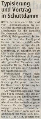 Vorbericht DKMS-Vortrag (Quelle: NEZ 15.10.2013)