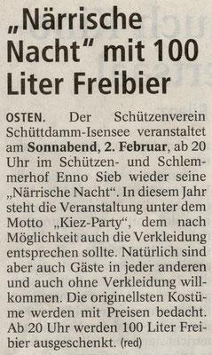 Vorbericht 13. Närrische Nacht (Quelle: Elbe Weser Aktuell 30.01.2013)