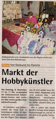Hobbykünstlermarkt 2009 (Quelle: Hadler Kurier 04.11.2009)