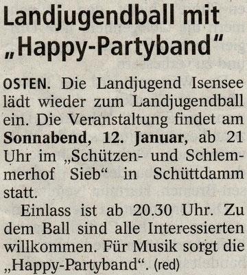 Vorbericht Landjugendball 2013 (Quelle: NEZ 10.01.2013)