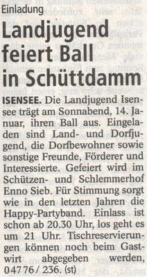 Vorbericht Landjugendball 2017 (Quelle: Stader Tageblatt 09.01.2017)