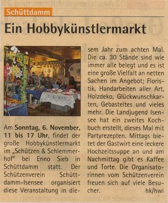 Hobbykünstlermarkt 2011 (Quelle: Hadler Kurier 02.11.2011)