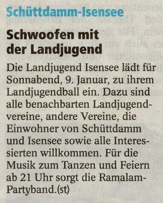 Vorbericht Landjugendball 2010 (Quelle: Stader Tageblatt 08.01.2010)