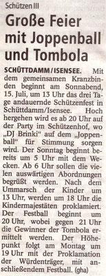 Vorbericht Schützenfest 2017 (Quelle: Stader Tageblatt 13.07.2017)