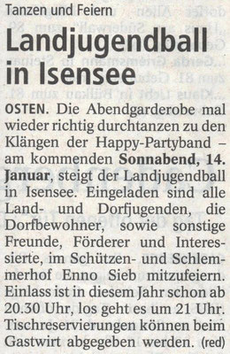Vorbericht Landjugendball 2017 (Quelle: NEZ 10.0.2017)