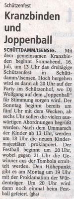 Vorbericht Schützenfest 2016 (Quelle: Stader Tageblatt 14.07.2016)