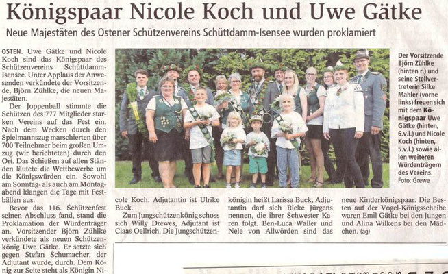 Schützenfest 2017 (Quelle: NEZ 21.07.2017)