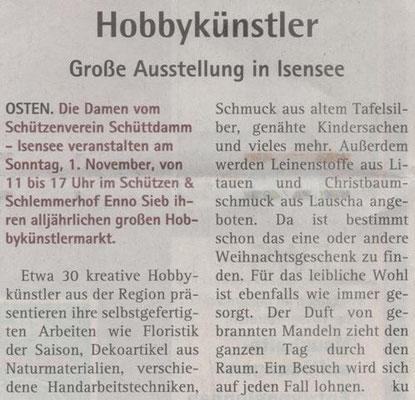 Vorbericht Hobbykünstlermarkt 2015 (Quelle: Hadler Kurier 24./25.10.2015)