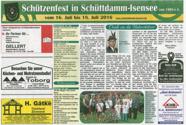 Vorbericht Schützenfest 2016 (Quelle: NEZ 14.07.2016)