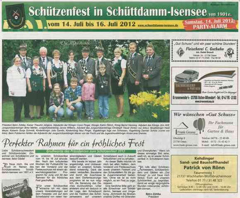 Vorbericht Schützenfest 2012 Teil 1 (Quelle: NEZ 11.07.2012)