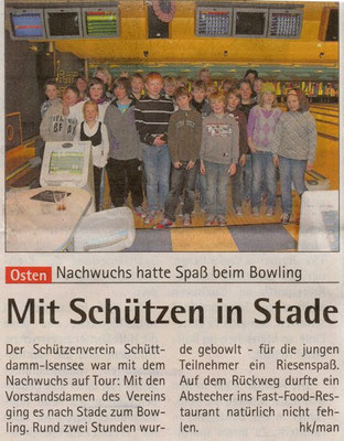 Kinderbowling 2010 (Quelle: Hadler Kurier 13.01.2010)