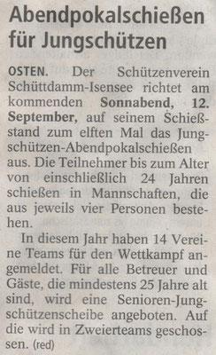 Vorbericht Jungschützen-Abendpokalschießen 2015 (Quelle: NEZ 10.09.2015)