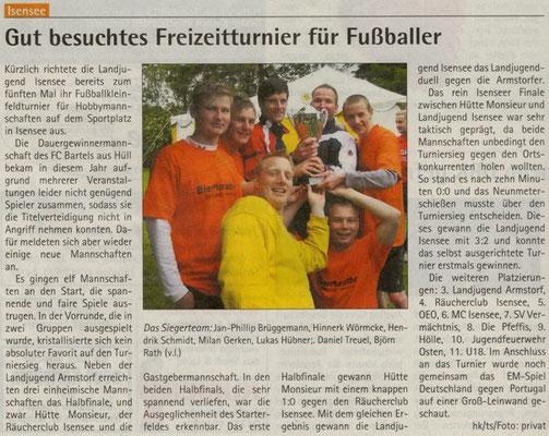 Fußballturnier 2012 (Quelle: Hadler Kurier 20.06.2012)