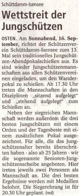 Vorbericht Jungschützen-Abendpokalschießen 2017 (Quelle: NEZ 15.09.2017)