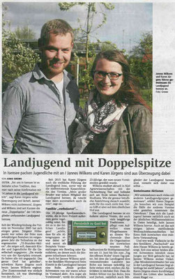 """""""Persönlich zu Gast bei..."""" Jannes Wilkens und Karen Jürgens (Quelle: NEZ 13.05.2016)"""