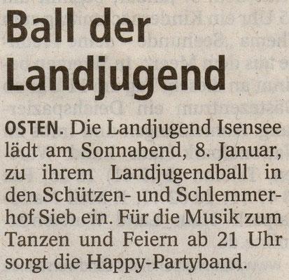 Vorbericht Landjugendball 2011 (Quelle: NEZ 04.01.2011)
