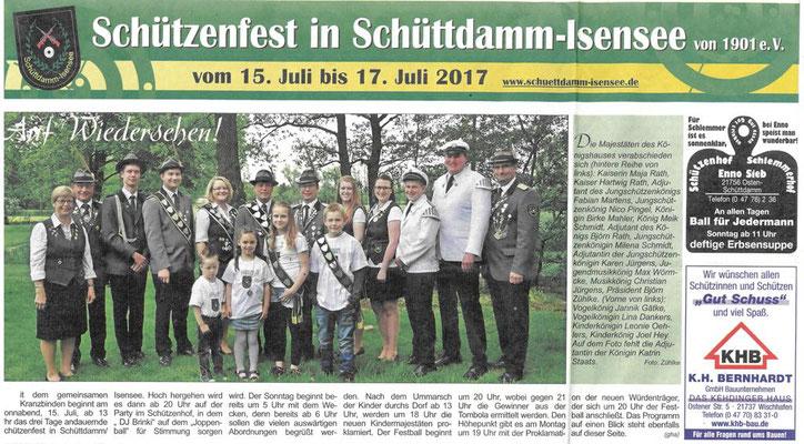 Vorbericht Schützenfest 2017 - obere Seite (Quelle: NEZ 13.07.2017)