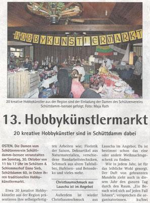 Vorbericht Hobbykünstlermarkt 2016 (Quelle: Hadler Kurier 22./23.10.2016)