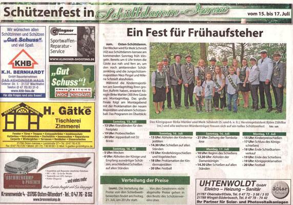 Vorbericht Schützenfest 2017 (Quelle: Neue Stader -Wochenblatt- 12.07.2017)