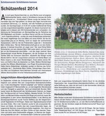 Schützenfest, Jgsch.-Abendpokal und Herbstschießen 2014 (Quelle: Hemmoor-Magazin, 6. Jahrgang, Nr. 18, Dezember 2014)