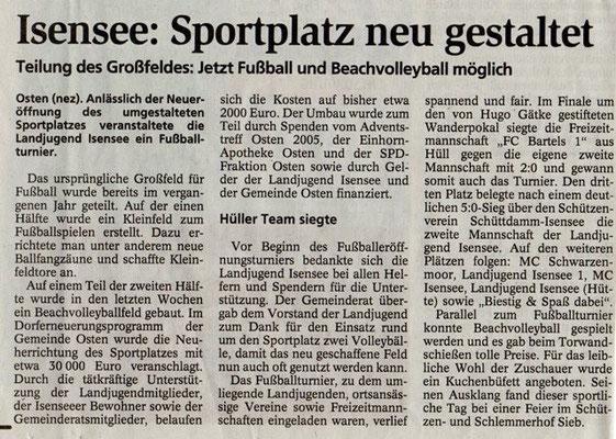 Sportplatzeinweihung 2008 (Quelle: NEZ 01.07.2008)