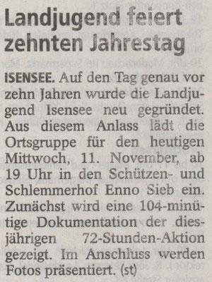 10 Jahre Landjugend Isensee (Quelle: Stader Tageblatt 11.11.2015)