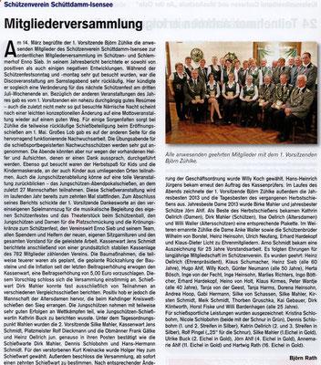 Jahreshauptversammlung 2014 (Quelle: Hemmoor Magazin, 6. Jahrgang, Nr. 16, April 2014)