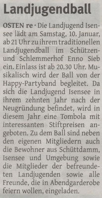 Vorbericht Landjugendball 2015 (Quelle: Elbe-Weser-Aktuell 07.01.2015)