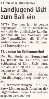 Vorbericht Landjugendball 2018 (Quelle: NEZ 05.01.2018)